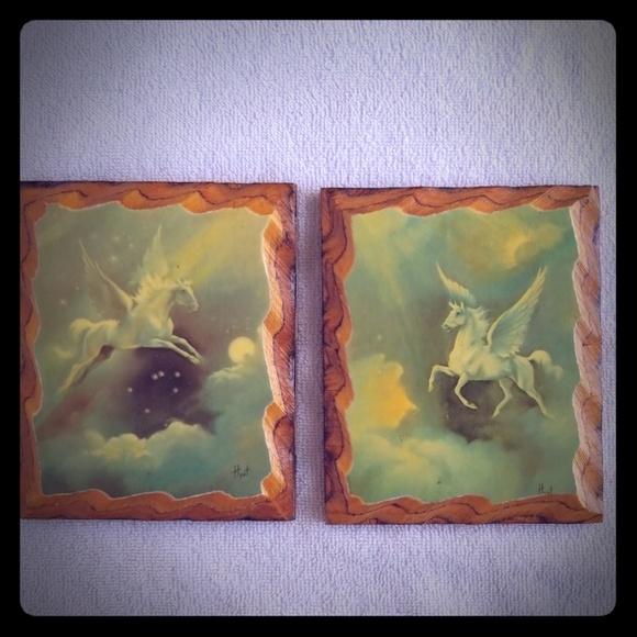 Vintage Other - Set of Vintage Flying Horse Foil Decoupage Picture